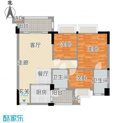 幸福湾101.00㎡1栋02单位户型3室2厅