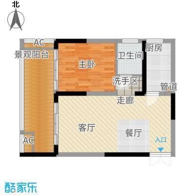 中和龙沐湾·海润源66.55㎡A3户型1室2厅