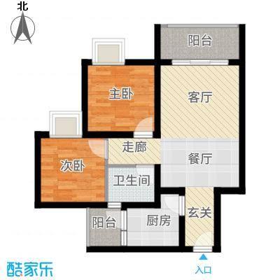 海韵阳光城65.01㎡A-(1)  户型2室2厅