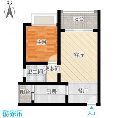 海韵阳光城55.68㎡B-(1)  户型1室2厅