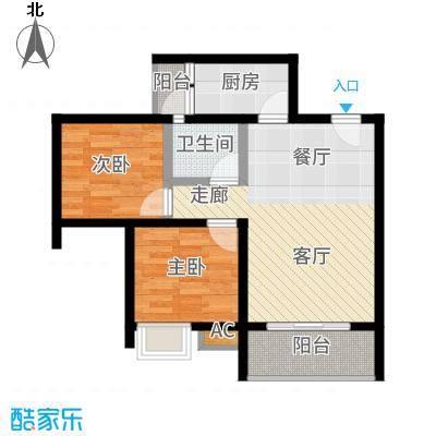 海韵阳光城65.06㎡A-2  户型2室2厅
