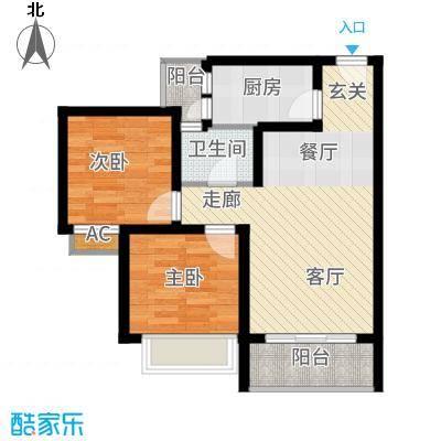 海韵阳光城68.29㎡B-3  户型2室2厅