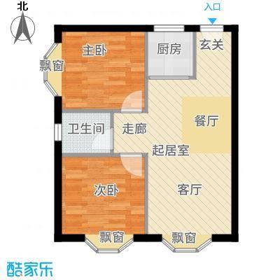 碧海蓝湾65.00㎡B户型2室1厅