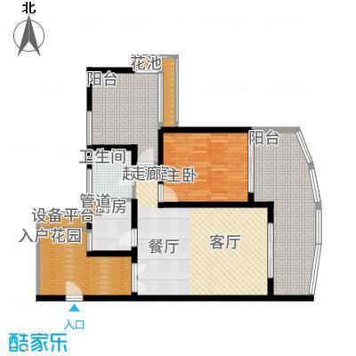 保利半岛1号88.00㎡保利·半岛1号A1原始平面图户型2室1厅
