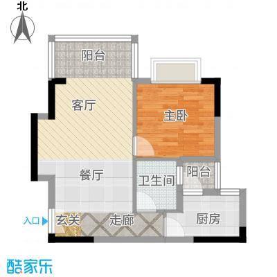 凤凰山居62.80㎡4号楼户型1室2厅