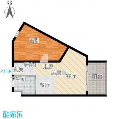兴隆美丽春天75.97㎡【】B型510户型1室2厅