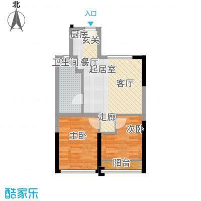 三亚领海53.00㎡二期5-B1户型2室2厅