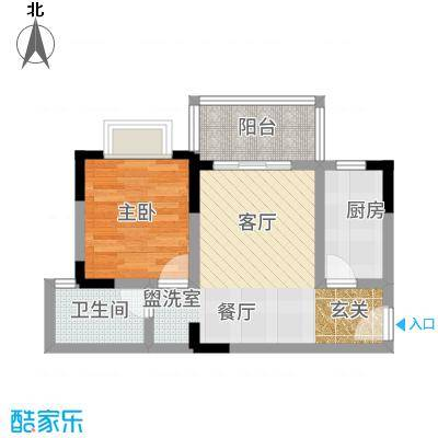 凤凰山居58.19㎡3号楼户型1室2厅