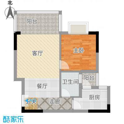 凤凰山居64.70㎡6号楼户型1室2厅