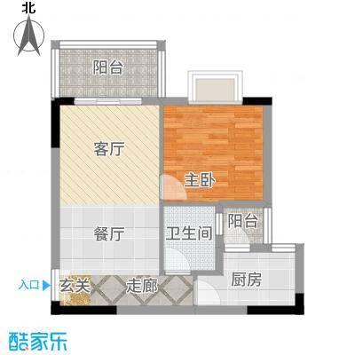 凤凰山居60.37㎡4号楼户型1室2厅