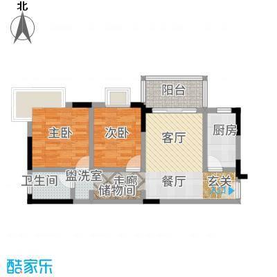 凤凰山居77.54㎡3号楼户型2室2厅