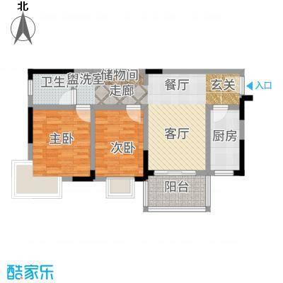 凤凰山居77.54㎡5号楼户型2室2厅