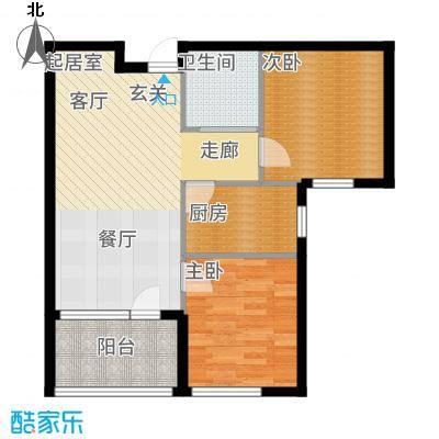 天鸿展视界68.48㎡天鸿·展世界15#楼6848m2户型2室2厅