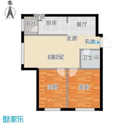 柏悦星城1#楼4单元3门两室户型2室2厅