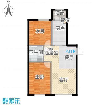 柏悦星城1#楼2单元3门两室使用面积6616户型2室1厅