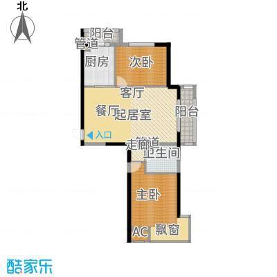 中铁人杰水岸91.00㎡二期高层A户型2室2厅