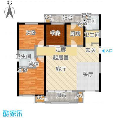 意境兰庭143.00㎡小高层标准层C3户型3室2厅