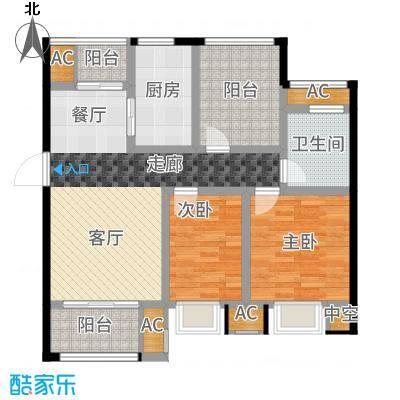 旭辉苹果乐园90.00㎡一期1#标准层B2户型3室2厅