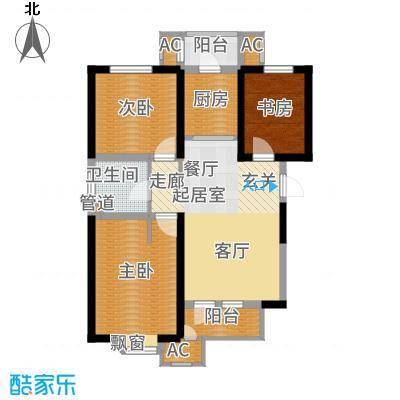 意境兰庭93.00㎡小高层标准层B户型3室2厅