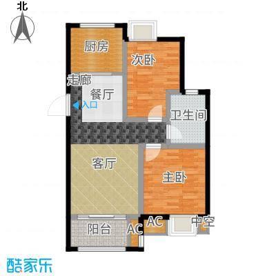 旭辉苹果乐园75.00㎡一期4#标准层C户型2室2厅