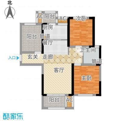 龙湖湘风星城91.63㎡F3户型2室2厅