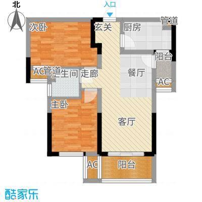 龙湖湘风星城76.53㎡F1户型2室2厅