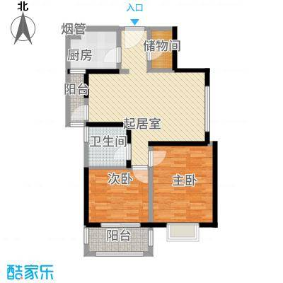 晶鑫华庭84.00㎡E户型2室2厅