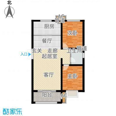 和园88.62㎡一期E户型2室2厅