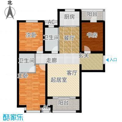 鹿城一号117.27㎡3号楼D户型3室2厅