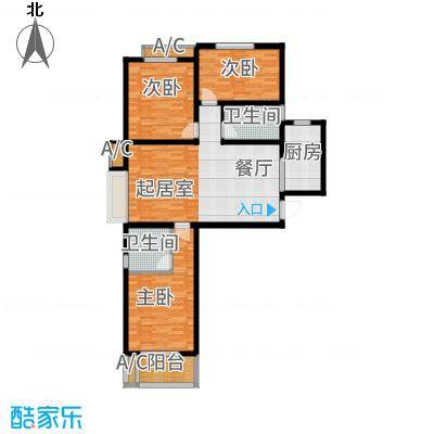 铂宫时代116.80㎡15#A户型3室2厅