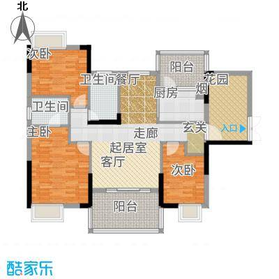 富盈WO城121.00㎡3栋2单元0标准层双鱼座3室户型3室2厅