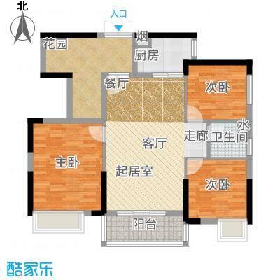 富盈WO城96.00㎡5-7栋2单元03、7栋1单元03标准层3室户型3室2厅