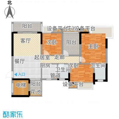 富山居花园117.00㎡11-12栋标准层A户型4室2厅