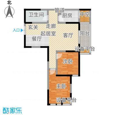 白桦林间93.05㎡20、21#B-2型户型2室2厅