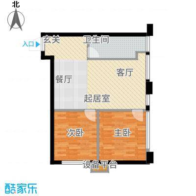 中贸广场65.00㎡15号楼22户型2室1厅