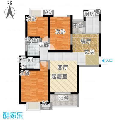 海伦国际123.00㎡33号楼E3户型3室2厅