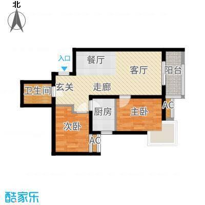 锦尚名城75.38㎡E户型2室2厅