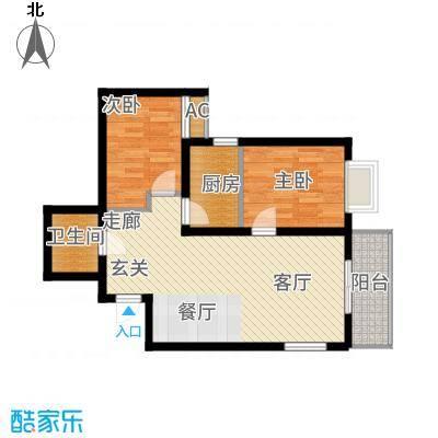 锦尚名城75.63㎡F户型2室2厅
