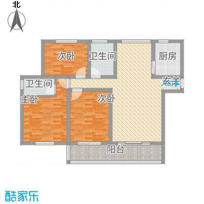 蓝柏湾126.00㎡高层B1B3号楼西户B户型3室2厅2卫1厨