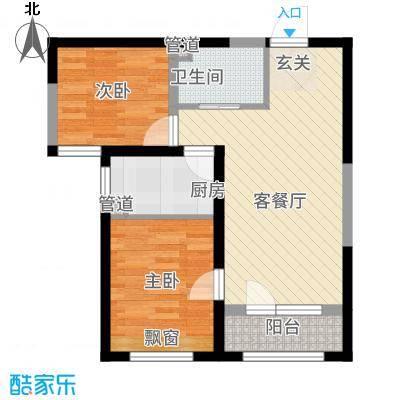 雷明锦程68.64㎡二期A1-6#-B户型2室1厅1卫