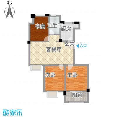 锦绣江南111.00㎡D1户型3室2厅1卫1厨