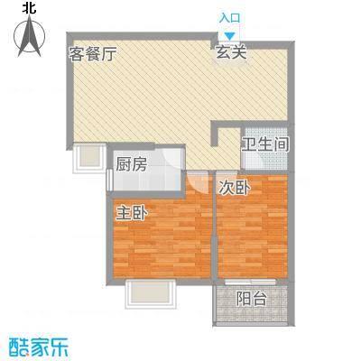 新世纪阳光花园84.40㎡D户型2室2厅1卫1厨