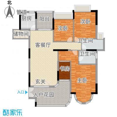 珠光御景湾156.00㎡一期住宅标准层户型3室2厅2卫