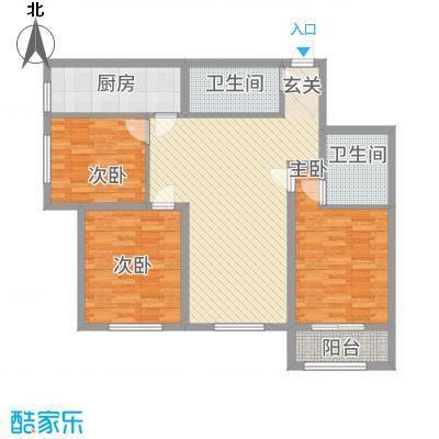 中宏美丽园二期111.10㎡B户型3室2厅1卫1厨