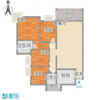 中铭豪园132.70㎡1112栋ab户型4室2厅2卫1厨