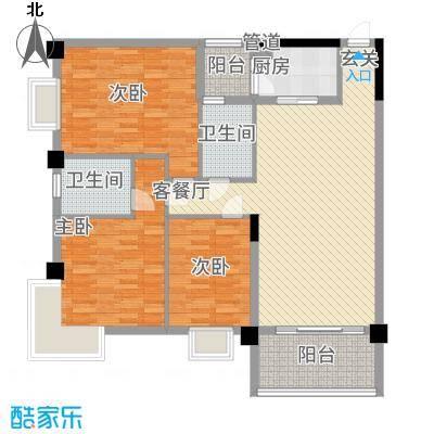 中铭豪园138.00㎡户型3室