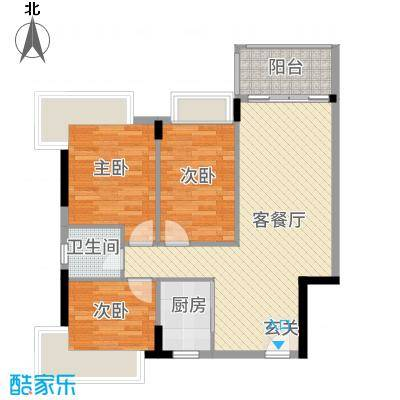 盈彩美地GD标准层平面图户型3室2厅1卫1厨