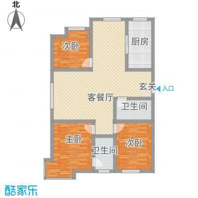 天成一品126.86㎡1号楼三居户型3室2厅2卫1厨