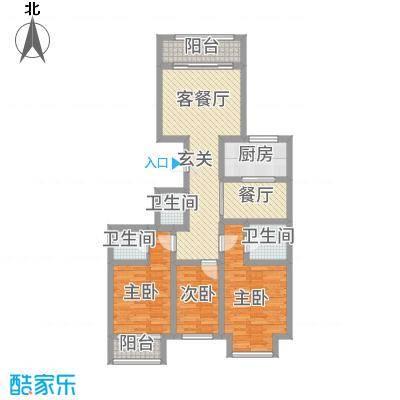 天成一品116.50㎡4号楼三居户型3室2厅3卫1厨