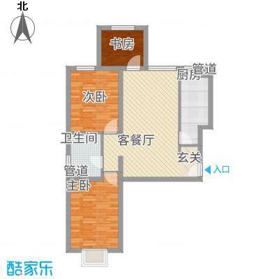 首开国风美唐三期24-26#标准层D1户型3室2厅1卫1厨
